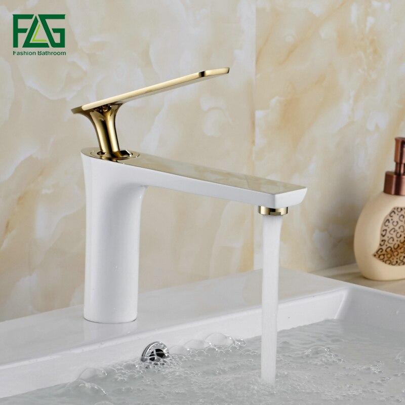 FLG New Design Basin Faucets Modern Bathroom Tap Brass Washbasin Faucet Single Handle Silver Gold Sink
