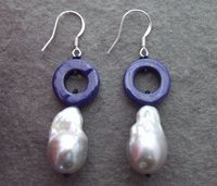 1326 Natural Lapis&Bead Nucleated Pearl Earrings