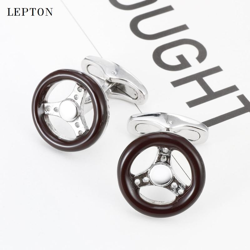 Lepton Car Steering Wheel Cufflinks for Mens Shirt Cuff Cuff links High Quality Brown Enamel Wheel Cufflink Relojes gemelos