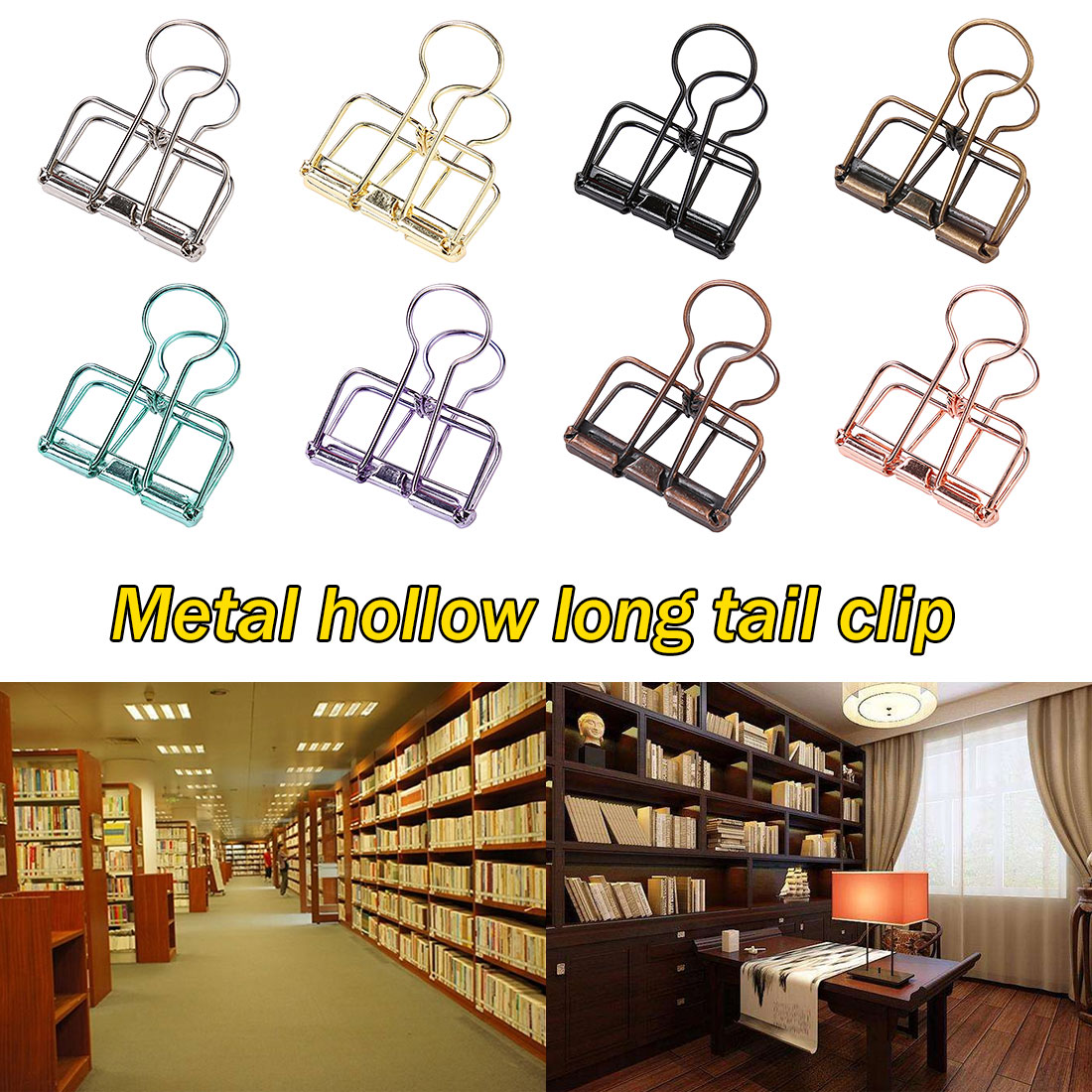 Cute Kawaii Colorful Metal Paper Clips Binder Clip For Photo Message Ticket File Office School Supplies Clips Korean Stationery