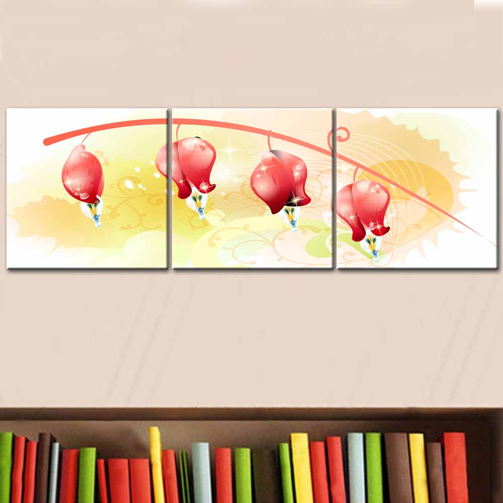 Hot Sale Combined 3 Pcs/set New Pink Flower Wall Art Painting Prints ...