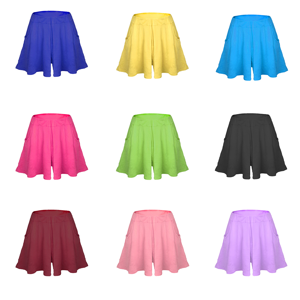 b85edbd13a Nevettle High waist Pleated Wide leg Skirt Shorts Women Candy color Beach  Loose Modal Cotton Casual Short Pants Feminino