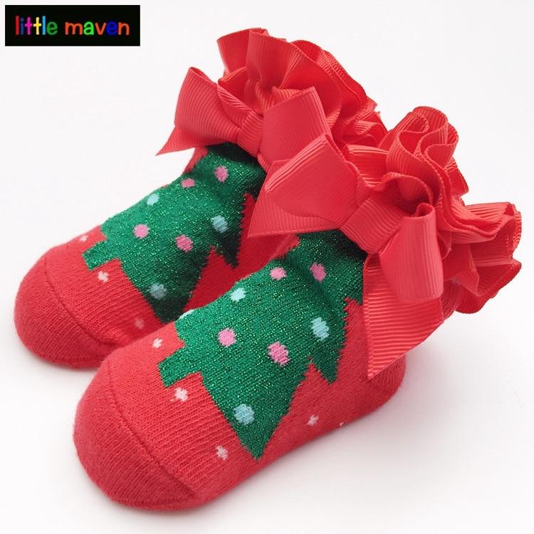 Рождественские носки для маленьких мальчиков и девочек рождественской елки Печать Хлопок блестящей ткани зима-осень носок Луки Кружева Meia ...