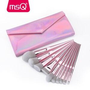Image 3 - Msq 10 pincéis de maquiagem, kit de pincéis de maquiagem profissional para blush, base, sombra, viagem