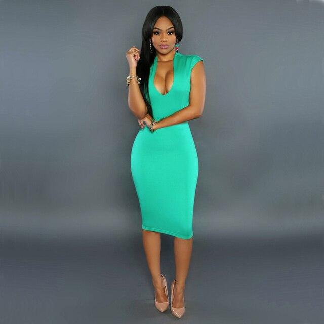 Женщины Лето Одеяние Sexy Club Dress 2017 Бальные Платья Пакет Бедра Оболочка Midi Dress Сарафан Элегантный Зеленый Bodycon Dress Vestido