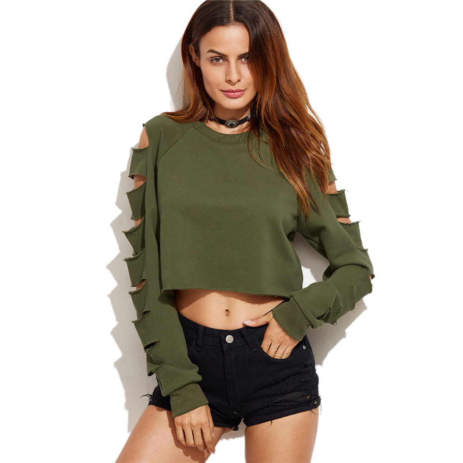 2019 Latest Design Sexy Autumn Short Sweatshirt Long Sleeve Holes Hollow Out Loose Polerones Mujer Midriff Women Fashion Sweatershirt Crop Tops Women's Clothing
