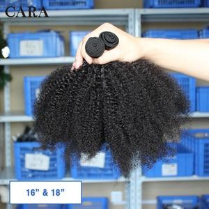 Image 2 - Mongolian Afro Kinky Curly Hair Human Hair Bundles 4B 4C Hair Weave Remy Natural Human Hair Extension CARA Products 1&3 Bundles