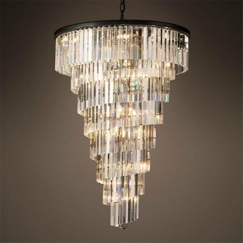 где купить Europe loft luxury four layer led chandelier for villa hotel restaurant crystal droplight for project lighting lutre fixture по лучшей цене