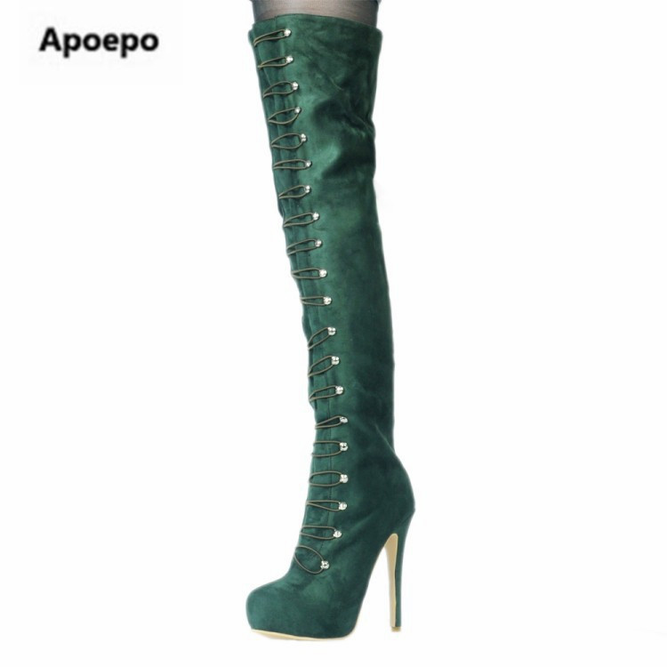 Apoepo brand women boots winter Keep warm green long boots metal decor thigh high boots platform high heels boots women shoes