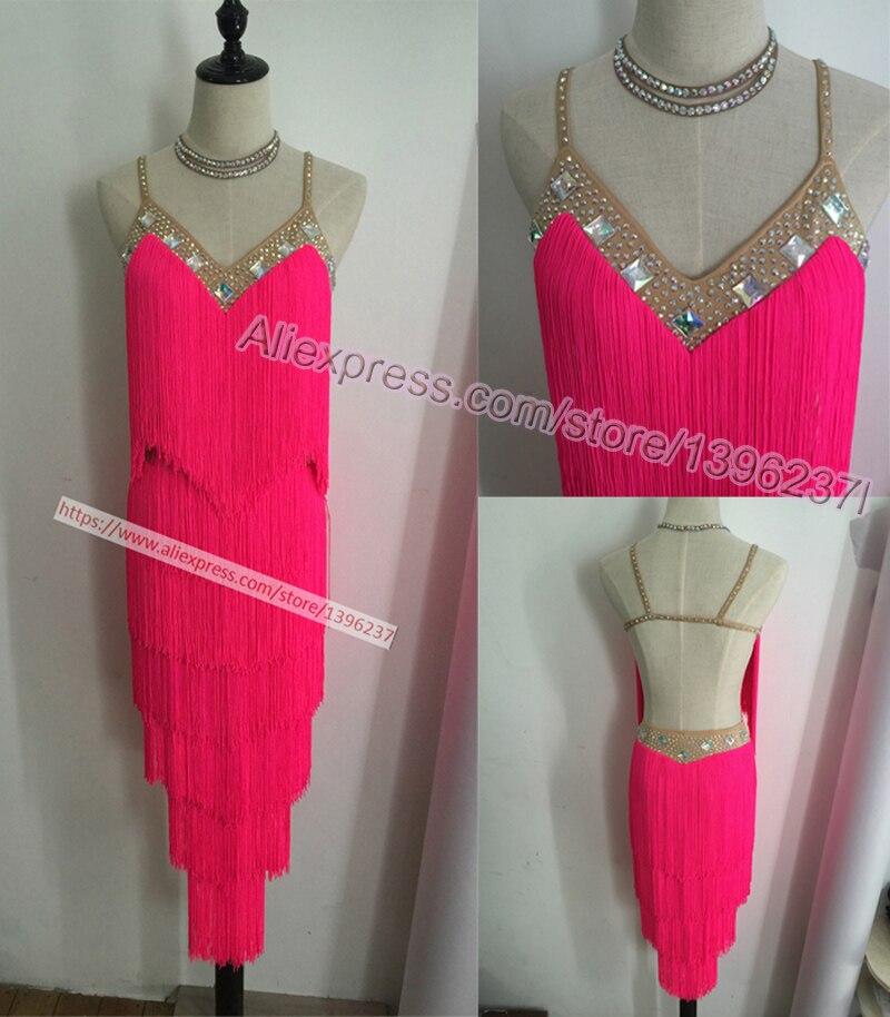 Latin Dance Dresses Women High Quality Customized Rumba Samba Dancing Skirt Lady Blue Tassel Latin Competition