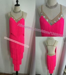 Image 2 - Latin Dance Dresses Women High Quality Customized Rumba Samba Dancing Skirt Lady Blue Tassel Latin Competition Dance Dress
