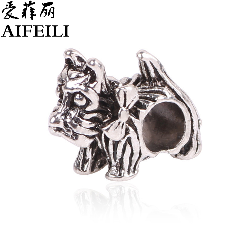 AIFEILI New 1Pcs Silver Bead Charm European Silver Bow dog cartoon Charm Pendant Bead Fit Pandora Bracelet gift