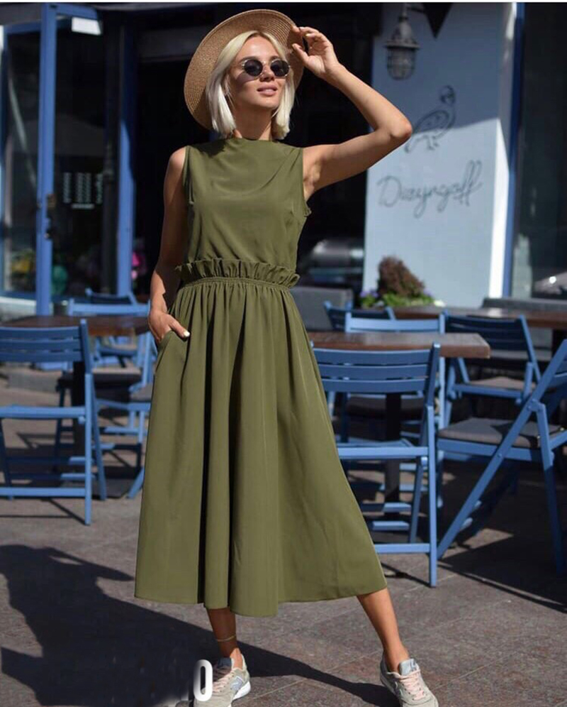 7e411722fe8 Waist Ruffles Sleeveless O Neck Dress 2018 SummerWomen s Elegant Vintage Bohemian  Beach Dresses Casual Loose Long Dress-in Dresses from Women s Clothing on  ...