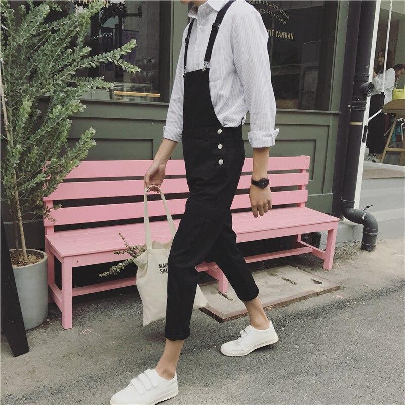 New Mens Green And Black Bib Overalls Fashion Loose Denim Overalls Jeans Man Casual Denim Jumpsuits Jeans Man Suspender Pants