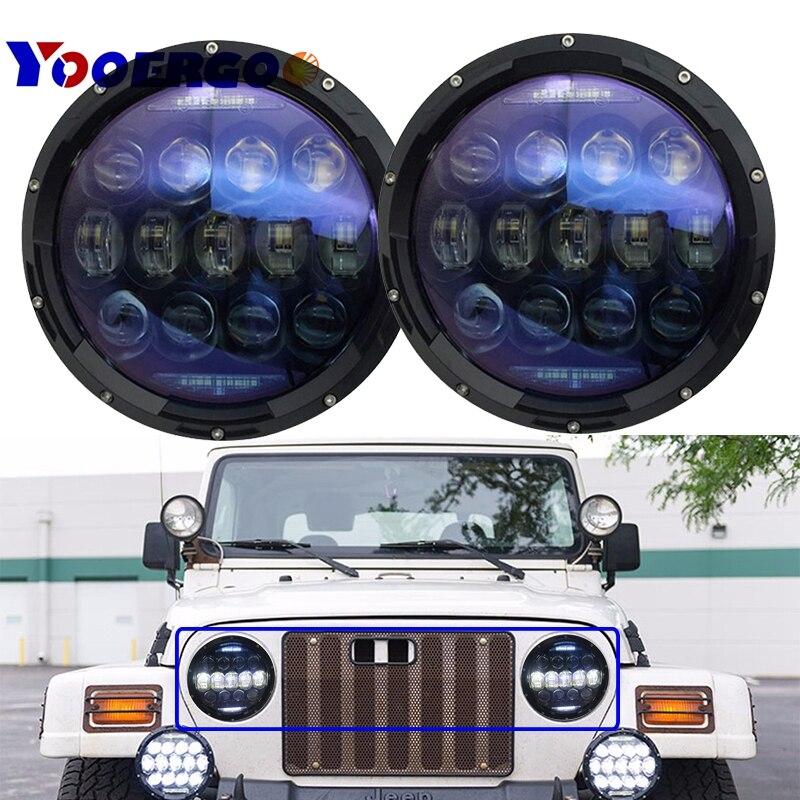 For Jeep TJ JK 7 Inch led headlights 130W Hi/Low beam DRL Turn signal lights for lada niva 4x4 TJ JK Off road Driving Light