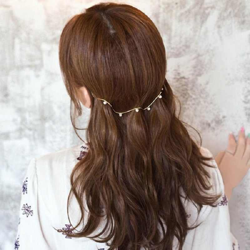 M MISM Новая Женская Корейская шпилька Свадебная принцесса зажим для волос сплав горный хрусталь обруч для волос жемчуг волнистые повязки для волос Haar аксессуары