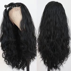 Image 2 - QD Tizer שחור שיער ארוך Loose גל שיער טבעי עם תינוק שיער Glueless סינטטי תחרה קדמית שחור נשים