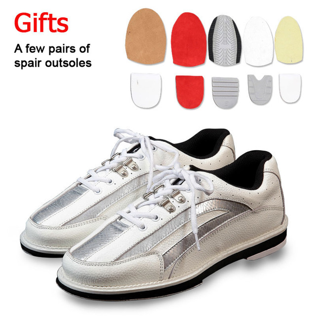 Professional unisex bowling shoes right & left hand anti-skid outsole sneakers genuine leather breathable Reflective shoes