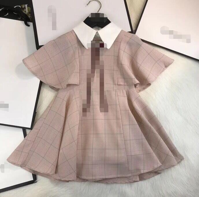 Retail Autumn 2018 Good Quality Big Girls 100-150cm lapel Leisure fashion Bow Tie princess dress 7188A8