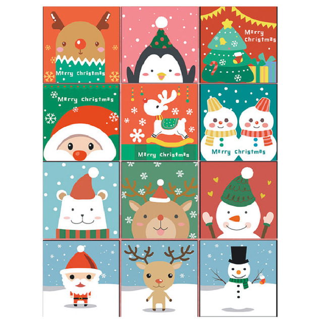 Santa Claus Christmas Tree Snowman Deer Pictures DIY Painting by