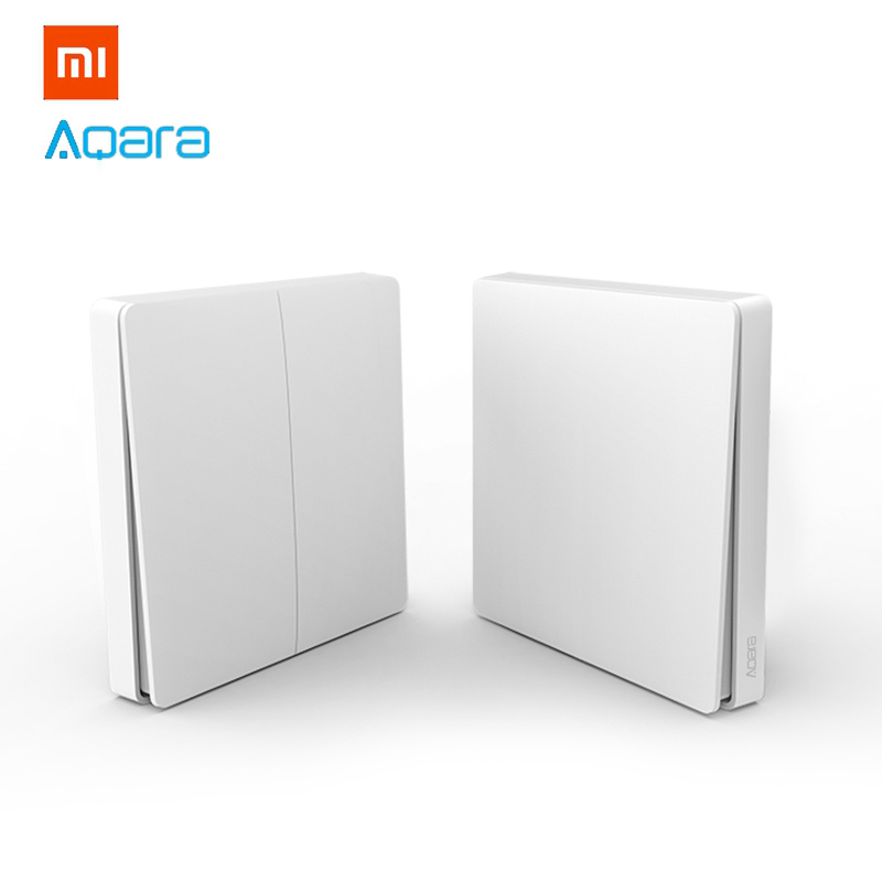 2018 Upgraded Xiaomi Aqara Wireless Switch Single Double Key Button Smart Light Control ZigBee Version for Mi Home APP Gateway rak dinding minimalis diy