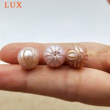 LUX AAA 10 mm Natural Round freshwater Pearls Hand Carved pink Pearl  flower designs carved pearls beads for jewelry making