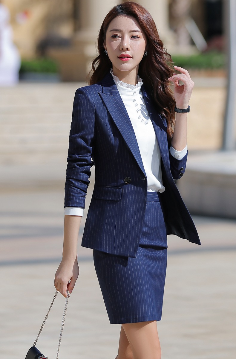 HTB1SSYAaX67gK0jSZPfq6yhhFXad - Women Two Piece Outfits Elegant Stripe Full Sleeve Blazer+Skirt 2 Pieces Business Career Skirt Suits Office Clothes KY80869