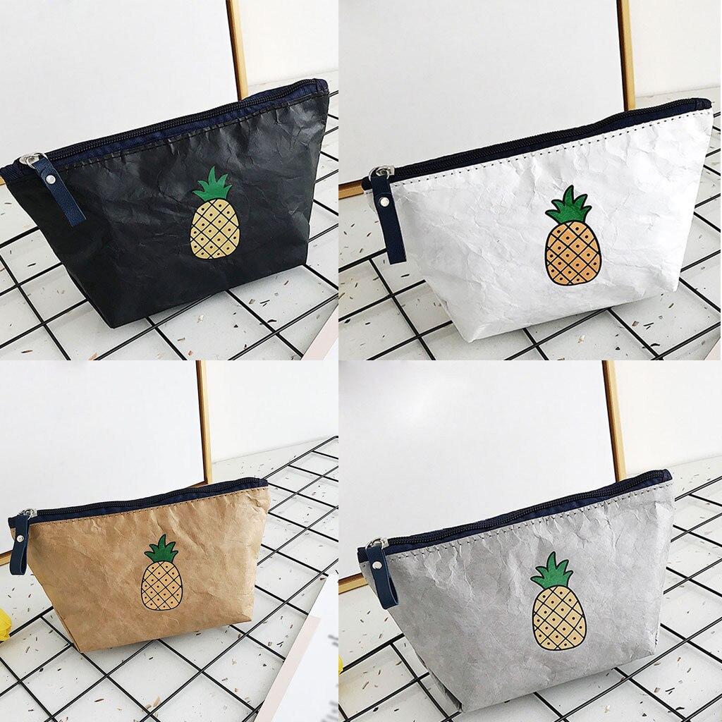 Women'sFashion Simple Solid Color Storage Bag Waterproof Cosmetic Pineapple Bag Zipper Make Up Bath Handbag Purse Female Tote