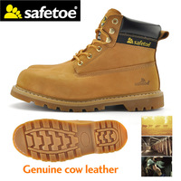 Safetoe Mens Safety Boots Shoes Trainers Genuine Leather Extra Wide Steel Toe Steel Midsole Plate Anti