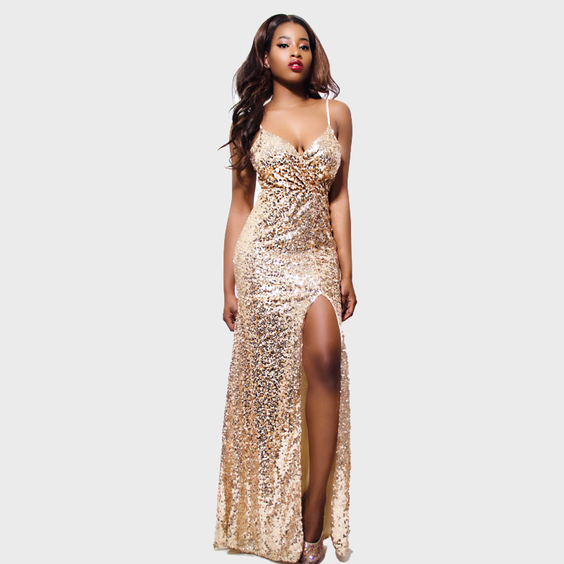 Detail Feedback Questions about Gold Sequin Maxi Dress 2016 Latest Design V  neck Spaghetti Strap High Split sexy Gold Long Dress Prom Ball Gown Party  Dress ... a124beb0de12