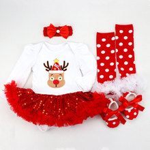 Newborn Sets 4pcs/set My 1st Christmas Baby Girls Clothes Infant Deer Festival Costume Xmas Gifts Toddler Girl Clothing Set newborn baby girls christmas costume tutu dress my first christmas baby clothes set headband xmas socks new born baby clothing
