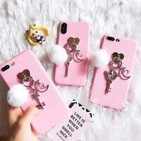 Meisje Stijl Roze Sailor Moon Zachte Mode 3D Siliconen & Plastic Mobiele Telefoon Gevallen Voor iPhoneX 8 8 Plus Beschermende Shell Coque Funda