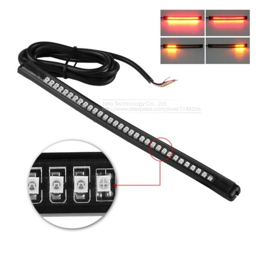 32/48LED Car Auto Motorcycle LED Turn Signal Light Turning Tail Brake Stop License Plate Lamp Rear Light Strip 8 Red/Amber sitaile universal 12v 30 led car license plate backup reverse brake rear light lamp bar red white waterproof number plate lamp