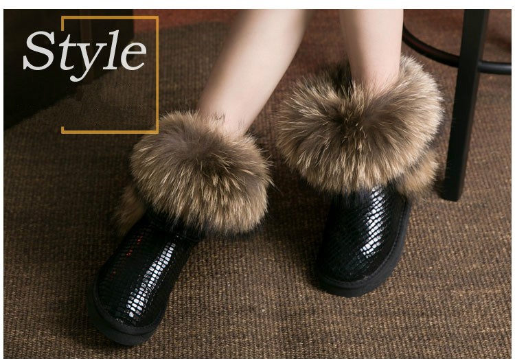ФОТО 2016 Australia Women's Natural Real Fox Fur Snow Boots 100% Genuine Leather women Boots Female Winter Shoes