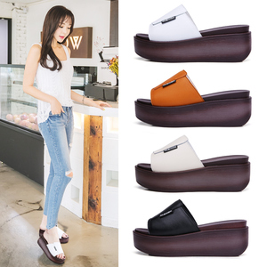 Image 4 - JZZDDOWN Summer women slippers genuine leather Open Toe middle heel shoes Women Wedges Slippers black white slides sandals