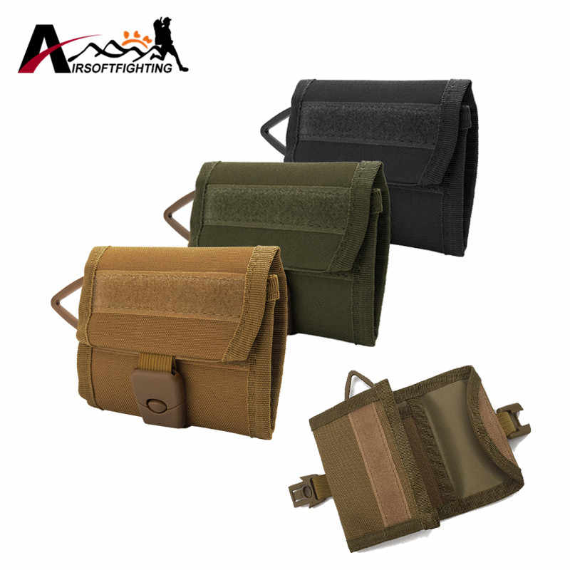 600D Nylon Tactical Triple-folding Wallet Men Army Multifunctional Sports Purse Molle Card Pocket Key Hanging Bags