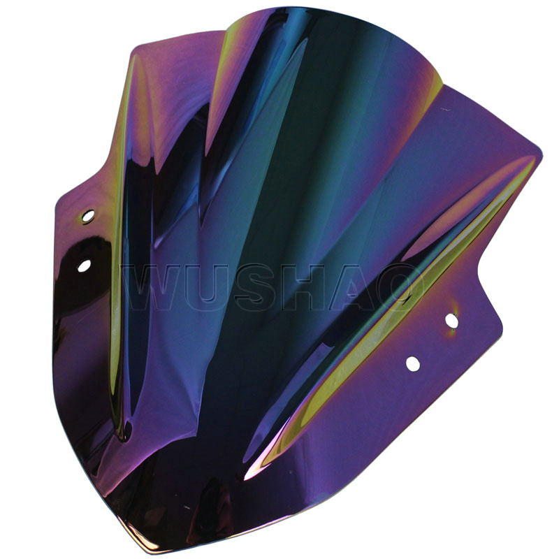 Мотоцикл двойной пузырь лобовое стекло ветер экран для 2013 Kawasaki Ninja 300 300R EX300 EX A B черный Иридиум