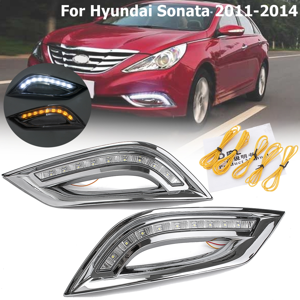1 Pair LED DRL Daytime Running Lights Turn Signal Fog Lights Lamp For Hyundai Sonata 2011 2012 2013 2014 okeen 2pcs high quality led drl for ford raptor f150 2010 2011 2012 2013 2014 daytime running lights with turn signal lamp 12v