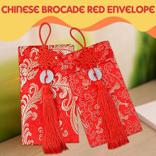 Money Packets Brocade Red Envelopes Dragon Phoenix Pattern Spring Festival Chinese Knot Jade Rings Exquisite(China)