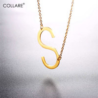 Collare Choker Necklace Alfabet Letter S Pendant Stainless Steel Gold Black Color Initial Jewelry Statement Necklace