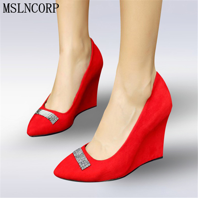 Plus Size 34-42 Spring Summer Brand High Heel Wedges Pumps Women Crystal Casual Shoes Sexy Pointed Toe Slip On Woman Dress Shoes new 2016 spring autumn summer fashion casual flat with shoes breathable pointed toe solid high quality shoes plus size 36 40