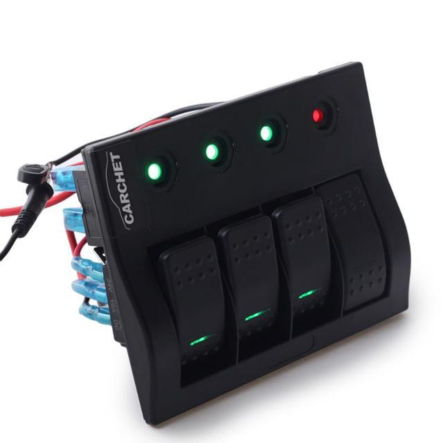 Marine Rocker Switch Panel 4 Gang LED Light Indicator Breaker Switch ...