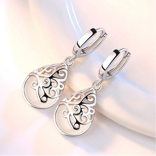 925 Sterling Silver Moonlight Opal Tears Totem Drop Earrings 1