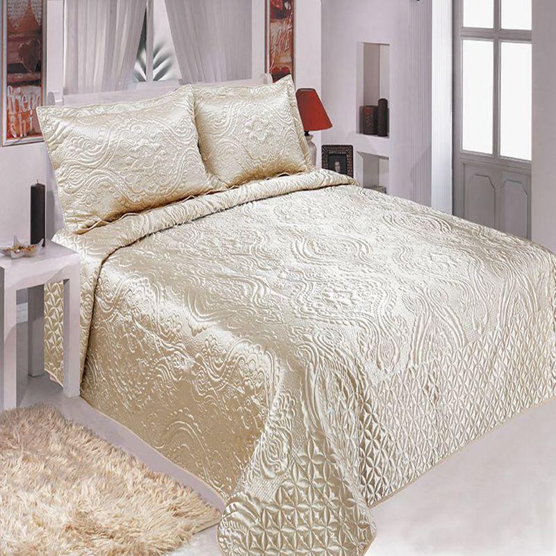 Couverture de lit matelassée confortable de literie de coton de haute qualité 220*240 lit double couverture de lit brodée européenne rustique