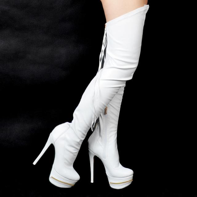 Mulheres Sapatos de Inverno Da Moda Bombas Dedo Do Pé Redondo da Plataforma de Salto Alto Bombas EU34-43 Grandes Sapatos Tamanho Das Mulheres