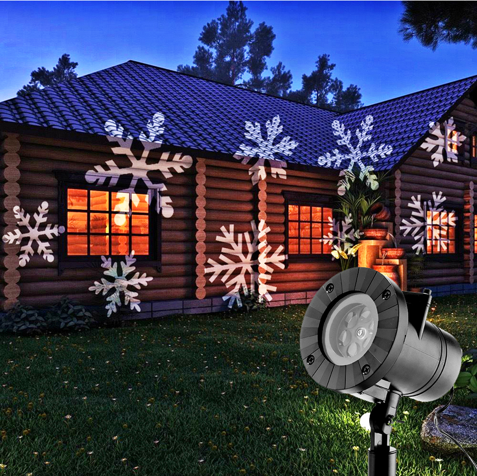 LED 12pattern Christmas Laser Snowflake Projector Star Lights Outdoor Waterproof Disco lamp Home Garden Indoor Decoration atmosp