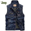 Afs Jeep 2016 Autumn Men's Cowboy Vest New Men's Fashion Casual Men's Vest Men's Sleeveless Solid Color Cowboy Vest 158