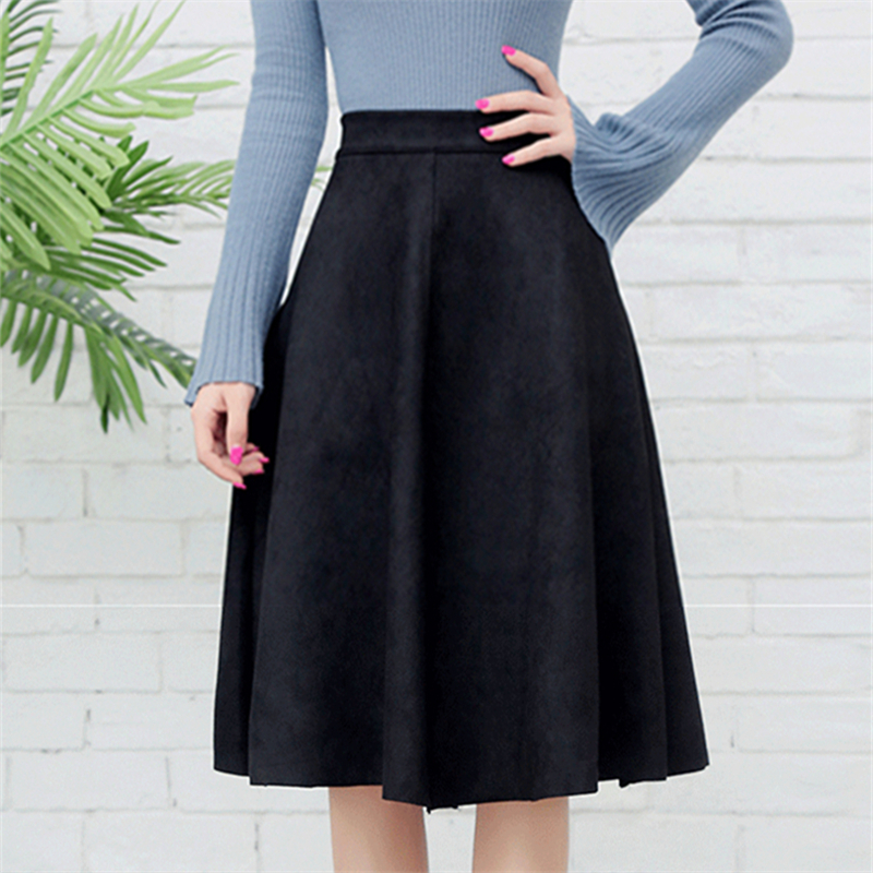 Neophil Women Suede High Waist Midi Skirt Winter Vintage Style Pleated Ladies A Line Black Flare Skirt Saia Femininas S1802 #4