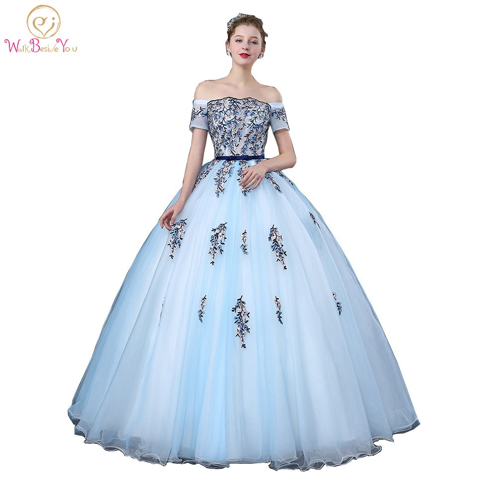 9e16add2c4 Walk Beside You Sky Blue Quinceanera Dresses Off Shoulder Short Sleeves Boat  Neck Ball Gown Lace Applique vestidos de 15 anos
