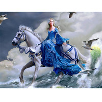 5D DIY Diamond Painting Crystal Girl And Horse Cross Stitch Mosaic Full Square Drill Decor Pasted